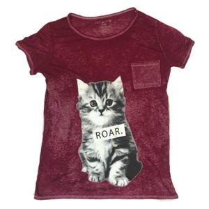 Wound UP Kitten Roar Graphic Burnout Tee T-Shirt L